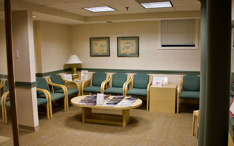 Waiting room in dental office
