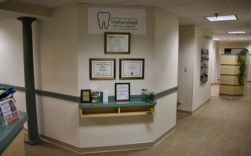 Dental certificates on wall