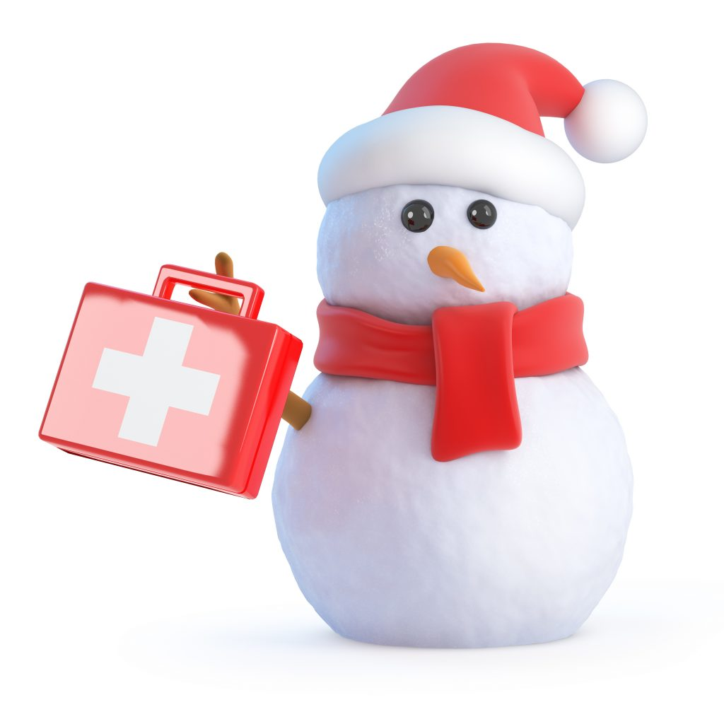 Snowman with a first-aid kit